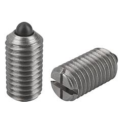 Spring Plungers pin style, slotted, stainless steel, light end pressure, metric