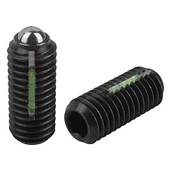 Spring Plungers LONG-LOK ball style, hexagon socket, steel, standard end pressure, metric