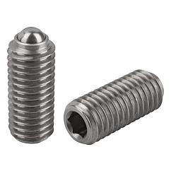 Spring Plungers ball style, hexagon socket, stainless steel, standard end pressure, metric
