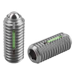 Spring Plungers LONG-LOK ball style, hexagon socket, stainless steel, standard end pressure, inch