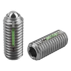 Spring Plungers LONG-LOK ball style, hexagon socket, stainless steel, heavy end pressure, metric