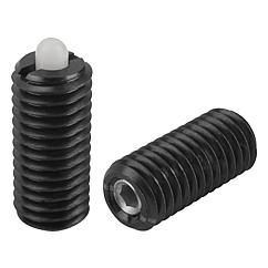 Spring Plungers pin style, hexagon socket, plastic pin, light end pressure, metric