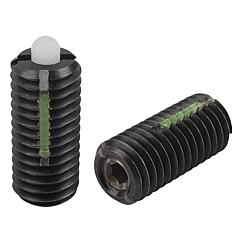 Spring Plungers LONG-LOK pin style, hexagon socket, steel body and plastic pin, light end pressure, inch