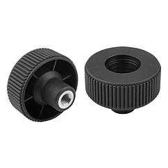Knurled Wheels components in steel, internal thread, Style D, inch