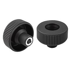 Knurled Wheels components in steel, with bushing, Style E, metric