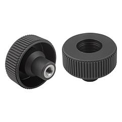 Knurled Wheels components in stainless steel, internal thread, Style D, metric