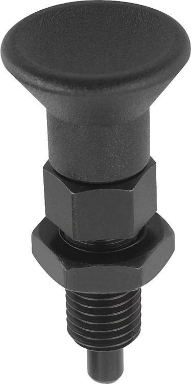 Kipp 03099-0708A6 Steel Cam Action Indexing Plunger Inch Black Oxide Finish Style D 5//8-11 Thread 8 mm Locking Pin Diameter