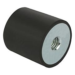 Rubber buffer, steel or stainless steel, type C