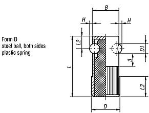Lateral spring plungers, Form D