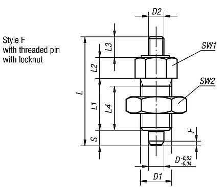 Indexing Plungers threaded pin, Style F, inch