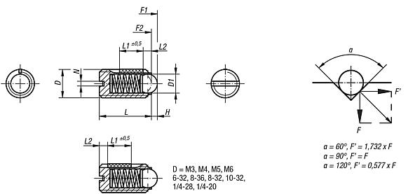 Spring Plungers LONG-LOK ball style, slotted, stainless steel, standard end pressure, metric