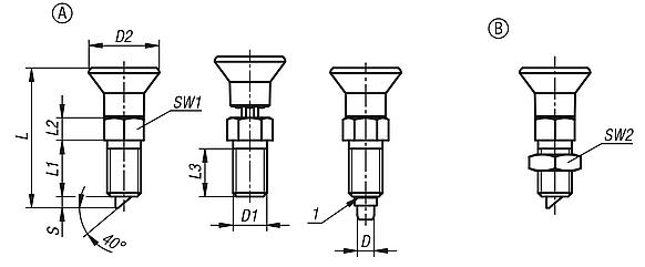 Indexing plungers with rotation lock and lead-in chamfer
