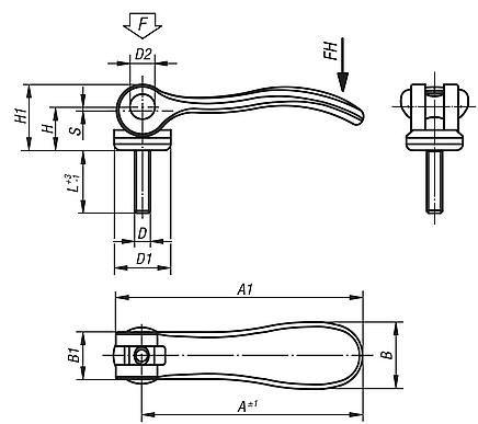 Cam Levers with external thread, steel; metric