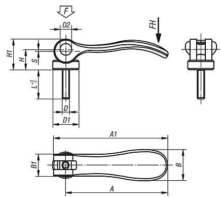 Cam levers, stainless steel, with external thread; thrust washer stainless steel