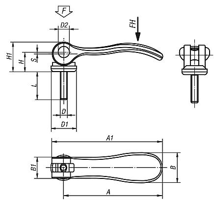 Cam Levers with external thread, metric