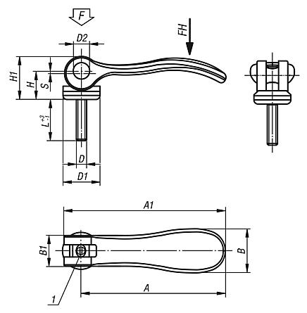 Adjustable Cam Levers with external thread, metric