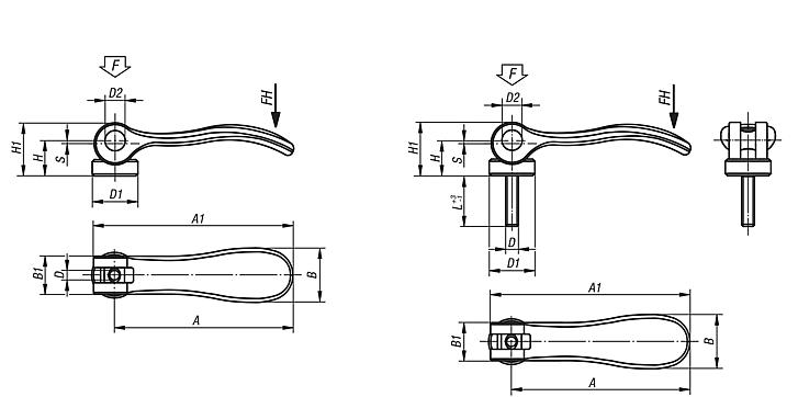 Cam levers internal or external thread, stainless steel, thrust washer stainless steel