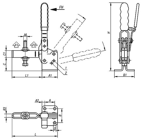 Toggle clamps vertical with safety interlock with flat foot and adjustable clamping spindle