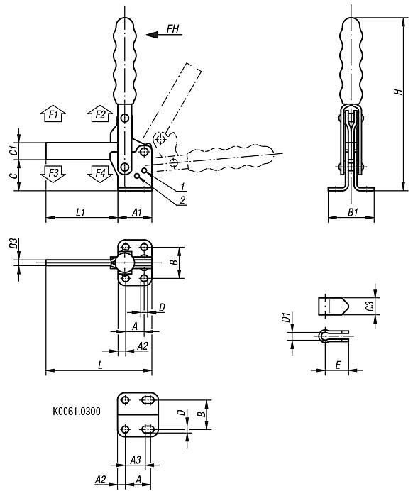 Toggle clamps vertical with flat foot and full holding arm