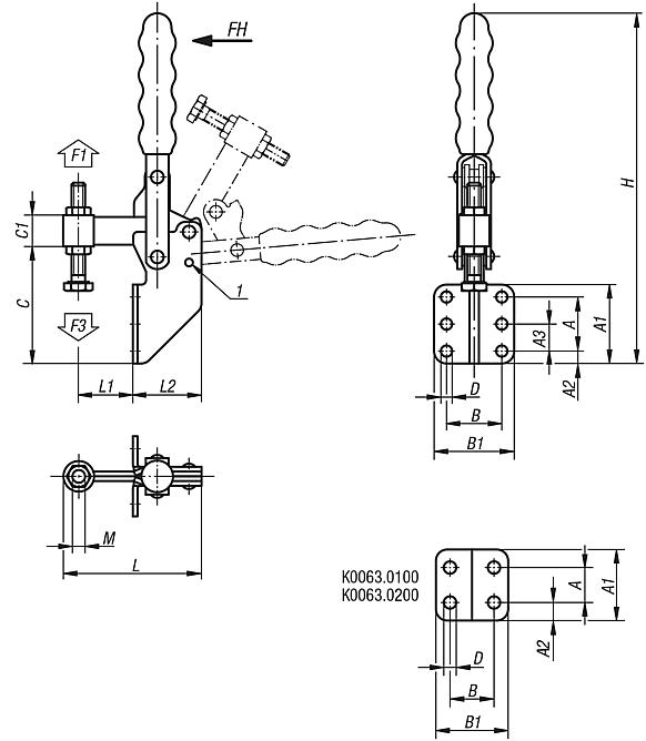 Toggle clamps vertical with angled foot and fixed clamping spindle