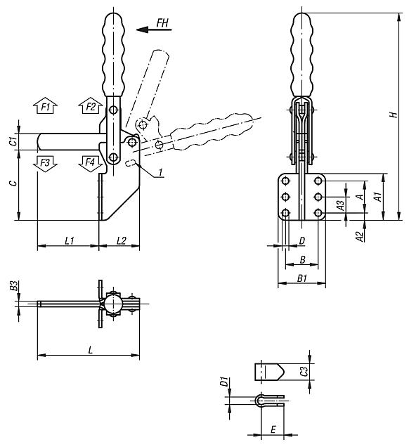 Toggle clamps vertical with angled foot and full holding arm