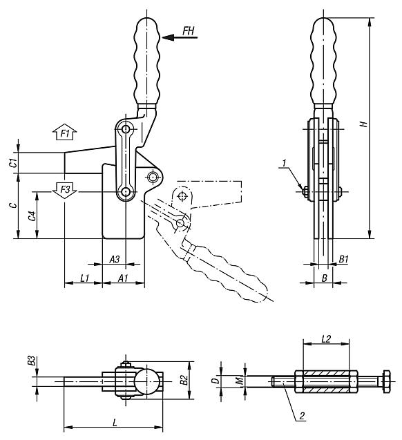 Toggle clamps vertical heavy-duty with full holding arm