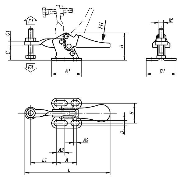Toggle clamps mini horizontal with flat foot and fixed clamping spindle