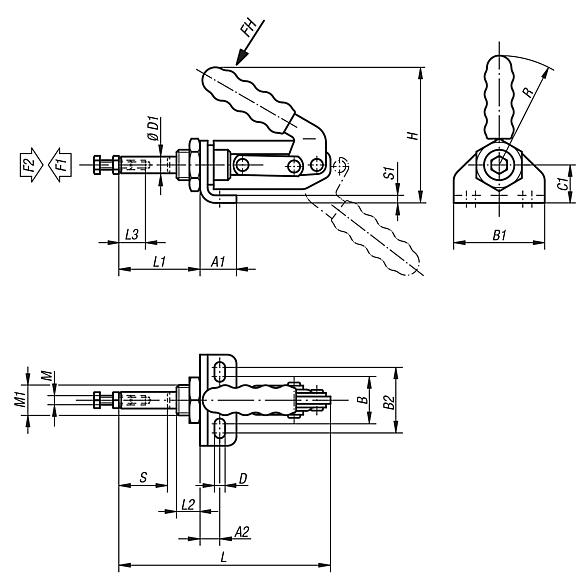 Push-pull toggle clamp with mounting bracket