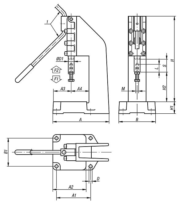 Toggle presses for manual operation