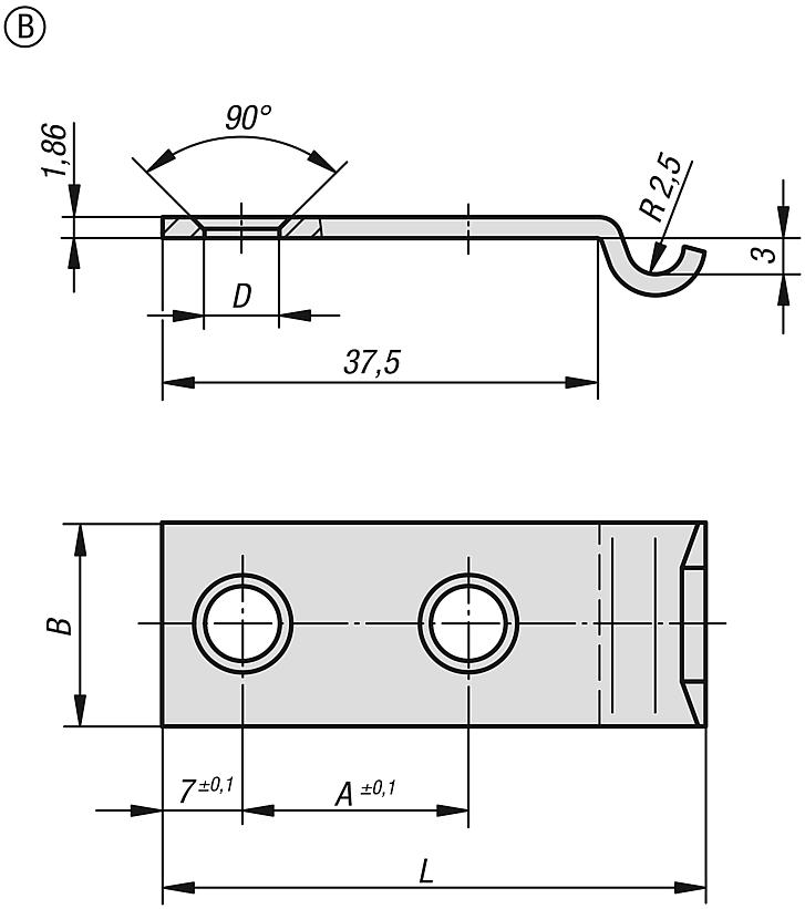 Catch plates Form B for DIN 3133 latches