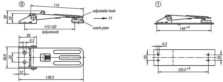 Adjustable Latches screw-on holes visible Style B