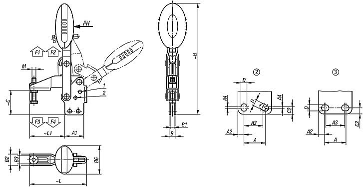 Vertical Toggle Clampswith straight foot and adjustable clamping spindle, stainless steel
