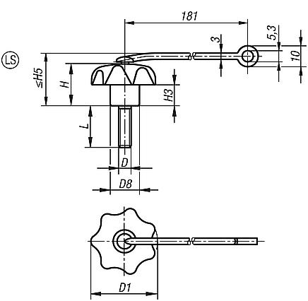 Star Grips with safety lanyard similar to DIN 6336, steel parts in stainless steel, metric