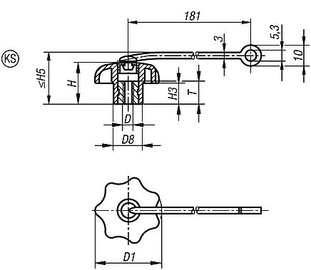 Star Grips with safety lanyard similar to DIN 6336, steel parts in stainless steel
