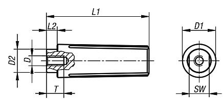 Revolving Handles, metric, internal thread