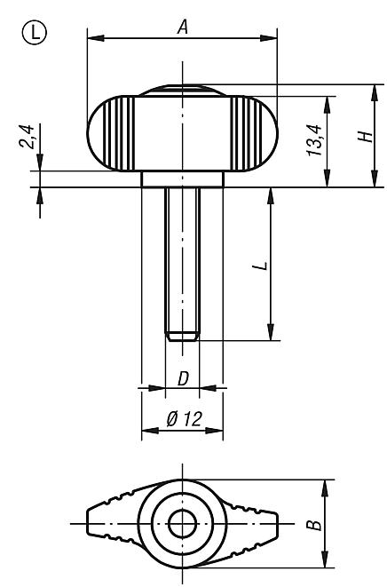 Mini Wings, external thread, metric