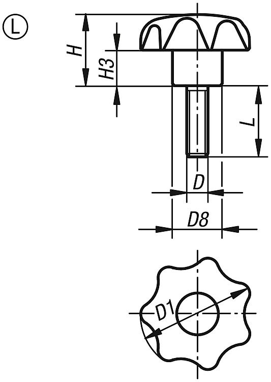 25 mm Diameter Style K M5 Internal Thread Pack of 10 Metric Kipp 06220-2055 Black Thermoplastic//Stainless Steel Tapped Blind Hole Star Grip Light Gray Cap Color