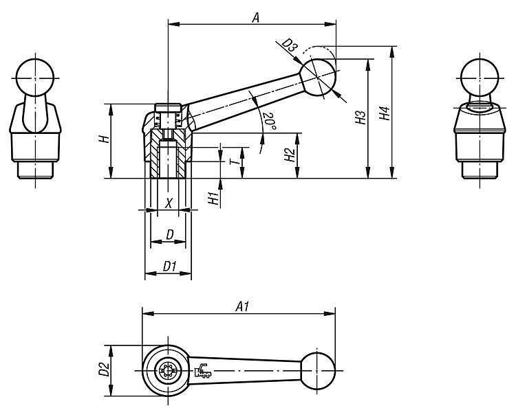 Modern Design Style Steel Components Black Satin Powder-Coated Finish Size 3 K0122.93A41X60 60 mm Screw Length KIPP Inc Kipp 06460-93A41X60 Zinc Adjustable Handle with Protective Cap and 3//8-16 External Thread Inch