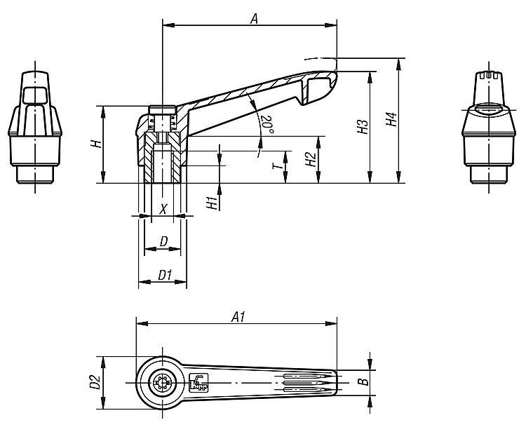 Stainless Steel Components Kipp 06611-1A22X20 Fiberglass Reinforced Plastic//Steel Adjustable Handle with 1//4-20 External Thread,Novo/·Grip Style Size 1 Inch Orange Color Novo/·Grip Style KIPP Inc 20 mm Screw Length K0270.1A22X20