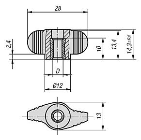 Mini Wings with tapped through internal thread, metric
