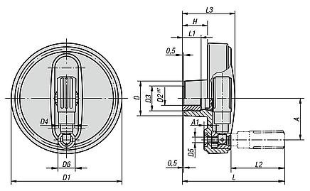 Handwheels with fold-away handle, metric
