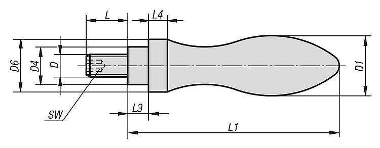 Metric 131 mm Length KIPP Inc 10 mm Diameter Steel Surface Finish Style C Kipp 06360-410X80 Steel Gear Lever with M8 External Thread K0179.410X80