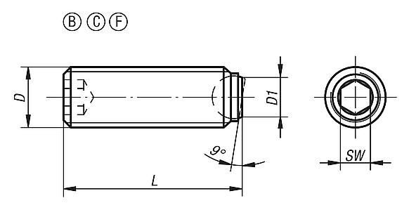 Ball-end thrust screws without head with flattened ball