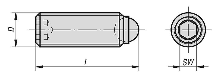 Ball-end thrust screws without headstainless steel with full ball
