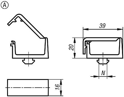 Cable clips with T-slot key, Form A