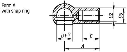 Ball seats for angle joints DIN 71805, style A