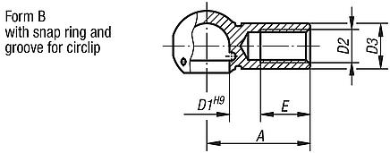 Ball seats for angle joints DIN 71805, style B