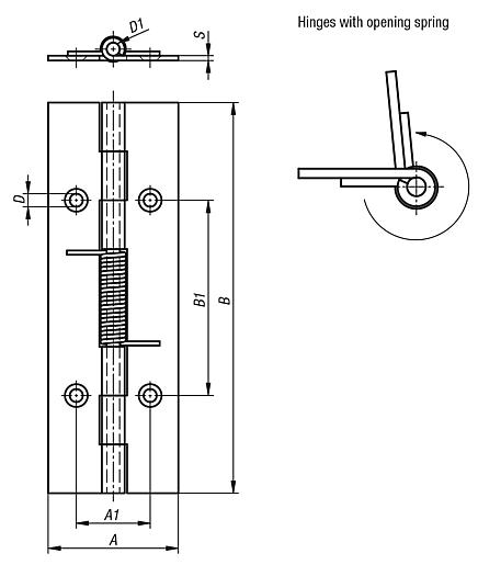 Spring hinges, steel, stainless steel or aluminium, 120 mm, spring open