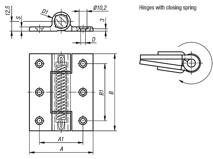Spring hinges aluminum profile, 3.8 Nm, spring closed