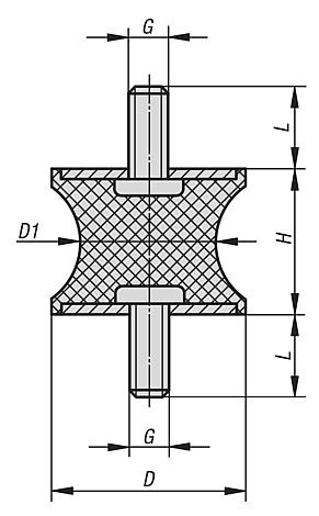 Rubber-metal buffers type AT tapered